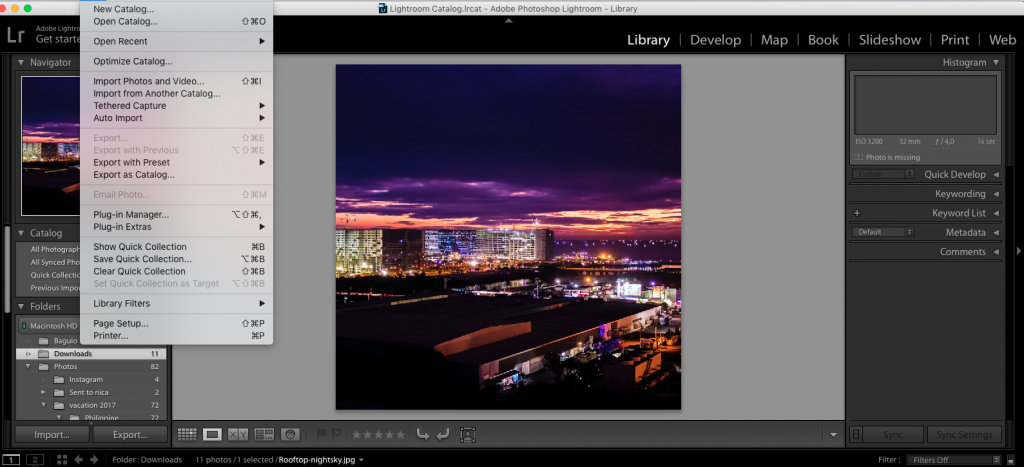 exporting files in adobe lightroom