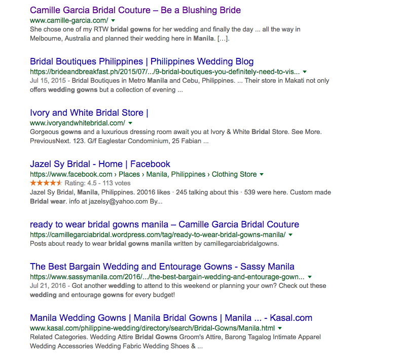 basic SEO strategies for beginners screenshot bridal