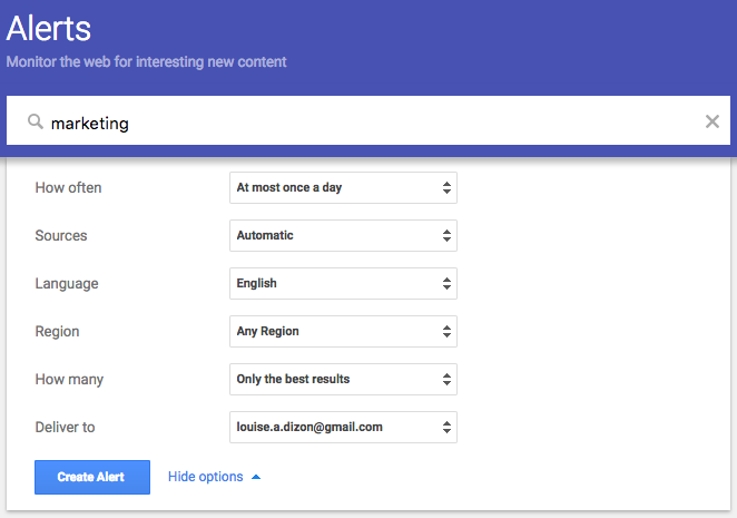 google alerts for awesome digital marketing efforts